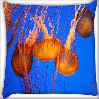 Snoogg Jellyfish Season Digitally Printed Cushion Cover Pillow 16 x 16 Inch