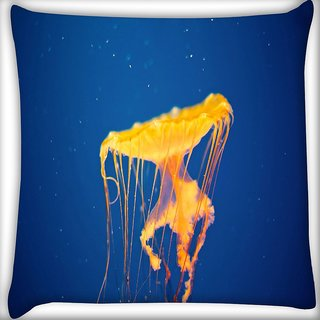 Snoogg Jellyfish In Sea Digitally Printed Cushion Cover Pillow 16 x 16 Inch