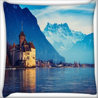 Snoogg Lake Geneva Digitally Printed Cushion Cover Pillow 16 x 16 Inch