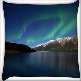 Snoogg Mountians View Digitally Printed Cushion Cover Pillow 16 x 16 Inch