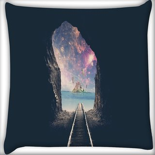 Snoogg Last Train Digitally Printed Cushion Cover Pillow 16 x 16 Inch