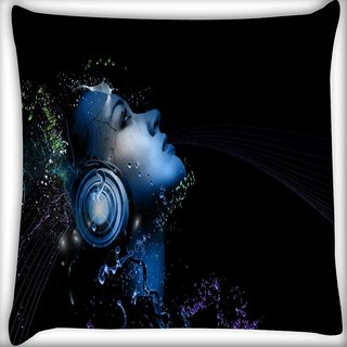 Snoogg Light Headphones Digitally Printed Cushion Cover Pillow 16 x 16 Inch