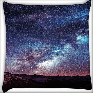 Snoogg Milkyway Space Mountain Digitally Printed Cushion Cover Pillow 16 x 16 Inch