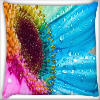 Snoogg Water Colorful Flowers Digitally Printed Cushion Cover Pillow 16 x 16 Inch