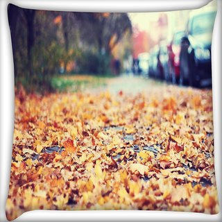 Snoogg Roadside Leaves Digitally Printed Cushion Cover Pillow 16 x 16 Inch