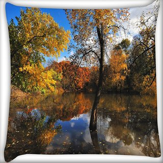 Snoogg Small Lake In Forest Digitally Printed Cushion Cover Pillow 16 x 16 Inch