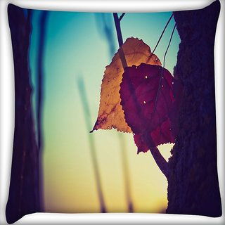 Snoogg Dry Leaves On Ground Digitally Printed Cushion Cover Pillow 16 x 16 Inch