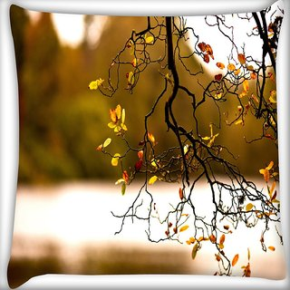Snoogg Yellow Leaves On Trees Digitally Printed Cushion Cover Pillow 16 x 16 Inch
