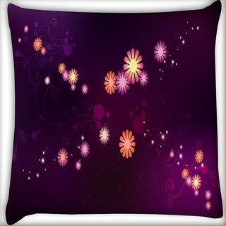 Snoogg Abstract Small Flower Digitally Printed Cushion Cover Pillow 16 x 16 Inch