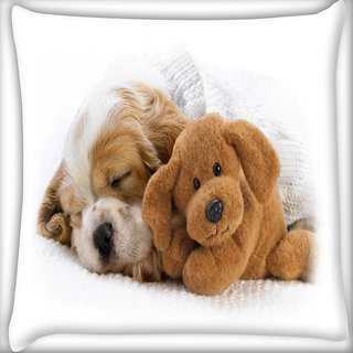 Snoogg Puppy Sleepng With Teddy Digitally Printed Cushion Cover Pillow 16 x 16 Inch