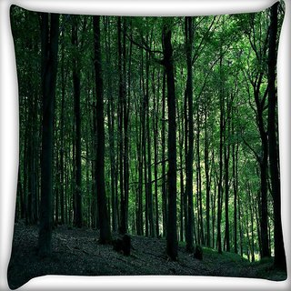 Snoogg Multiple Trees In Dense Forest Digitally Printed Cushion Cover Pillow 16 x 16 Inch