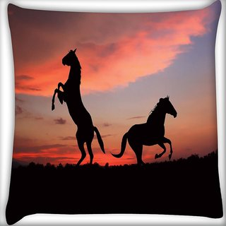 Snoogg Standing Horse Digitally Printed Cushion Cover Pillow 16 x 16 Inch