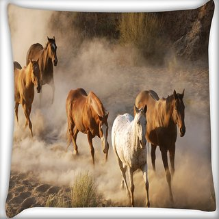Snoogg Running Horses Digitally Printed Cushion Cover Pillow 16 x 16 Inch