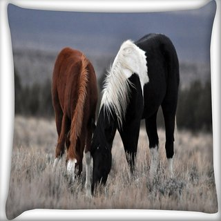 Snoogg Black And Brown Horse Digitally Printed Cushion Cover Pillow 16 x 16 Inch