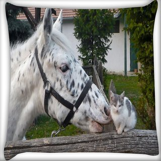 Snoogg Horse And Cat Digitally Printed Cushion Cover Pillow 16 x 16 Inch