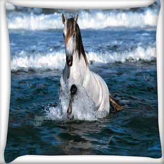Snoogg White Horse In River Digitally Printed Cushion Cover Pillow 16 x 16 Inch