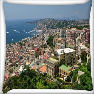 Snoogg City From The Top Digitally Printed Cushion Cover Pillow 16 x 16 Inch