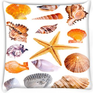 Snoogg  14 mussels and star fish studio isolated on white Digitally Printed Cushion Cover Pillow 16 x 16 Inch