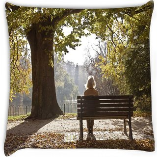 Snoogg  autumn  Digitally Printed Cushion Cover Pillow 16 x 16 Inch
