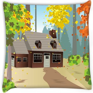 Snoogg  autumn home Digitally Printed Cushion Cover Pillow 16 x 16 Inch