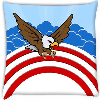 Snoogg  bald eagle 4th of july vector theme design  Digitally Printed Cushion Cover Pillow 16 x 16 Inch