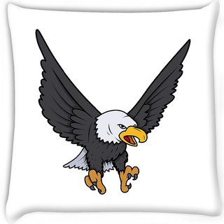 Snoogg  bald eagle vector illustration  Digitally Printed Cushion Cover Pillow 16 x 16 Inch