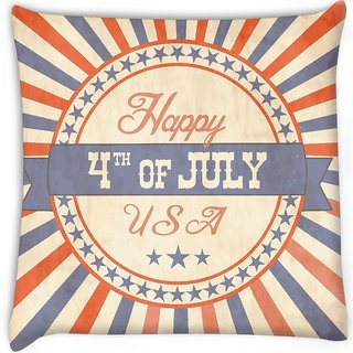 Snoogg  independence day greeting card in vintage style  Digitally Printed Cushion Cover Pillow 16 x 16 Inch