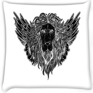 Snoogg  lion with wings vector t shirt design Digitally Printed Cushion Cover Pillow 16 x 16 Inch