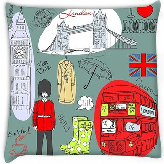 Snoogg  london doodles Digitally Printed Cushion Cover Pillow 16 x 16 Inch