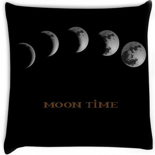 Snoogg  moon phases Digitally Printed Cushion Cover Pillow 16 x 16 Inch