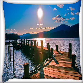 Snoogg Way To Lake Digitally Printed Cushion Cover Pillow 16 x 16 Inch