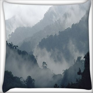 Snoogg Smoky View Digitally Printed Cushion Cover Pillow 16 x 16 Inch