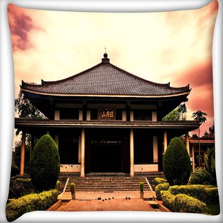 Snoogg Shangai Temple Digitally Printed Cushion Cover Pillow 16 x 16 Inch