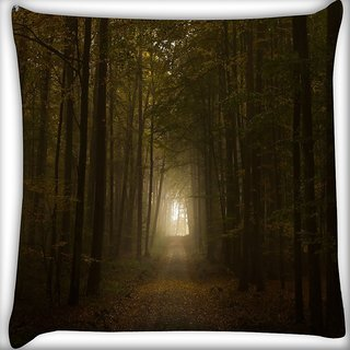 Snoogg Way To Forest Digitally Printed Cushion Cover Pillow 16 x 16 Inch