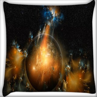 Snoogg Florous Sun Digitally Printed Cushion Cover Pillow 16 x 16 Inch