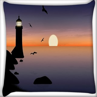 Snoogg Light House Digitally Printed Cushion Cover Pillow 16 x 16 Inch