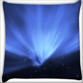 Snoogg Blue Stars Digitally Printed Cushion Cover Pillow 16 x 16 Inch