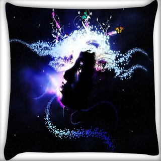 Snoogg Abstract Girl Digitally Printed Cushion Cover Pillow 16 x 16 Inch