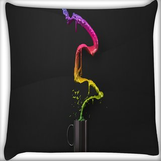 Snoogg Colorful Water Digitally Printed Cushion Cover Pillow 16 x 16 Inch