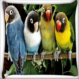 Snoogg Cute Birds Digitally Printed Cushion Cover Pillow 16 x 16 Inch
