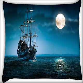 Snoogg Cool Ship In Sea Digitally Printed Cushion Cover Pillow 16 x 16 Inch