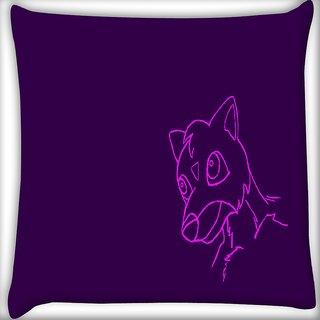 Snoogg Cute Creature Purple Digitally Printed Cushion Cover Pillow 16 x 16 Inch