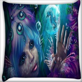 Snoogg Mermaid Fantasy Digitally Printed Cushion Cover Pillow 16 x 16 Inch