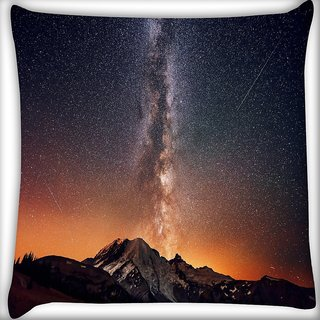 Snoogg Milky Way Above The Mountains Digitally Printed Cushion Cover Pillow 16 x 16 Inch
