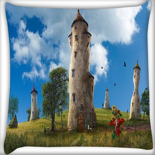 Snoogg Old Times House Digitally Printed Cushion Cover Pillow 16 x 16 Inch