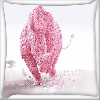 Snoogg Pink Rhino Digitally Printed Cushion Cover Pillow 16 x 16 Inch