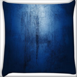 Snoogg Abstract Blue Paint Design Digitally Printed Cushion Cover Pillow 16 x 16 Inch
