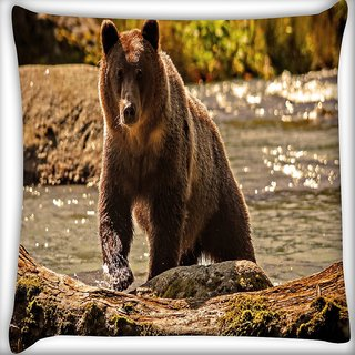 Snoogg Bear From The River Digitally Printed Cushion Cover Pillow 16 x 16 Inch