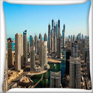Snoogg Buildings In Dubai Digitally Printed Cushion Cover Pillow 16 x 16 Inch