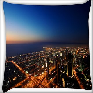 Snoogg City At Night Digitally Printed Cushion Cover Pillow 16 x 16 Inch